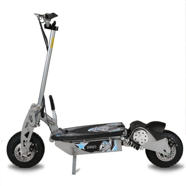 Silver electric scooter pro side view